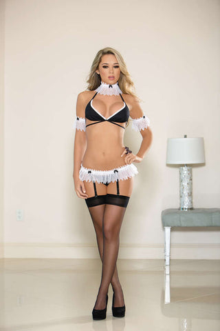 Sexy French Maid Bra Set W/Hose - Fashion