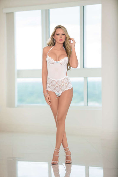 Bridal Halter Tie Open Crotch Teddy - Fashion