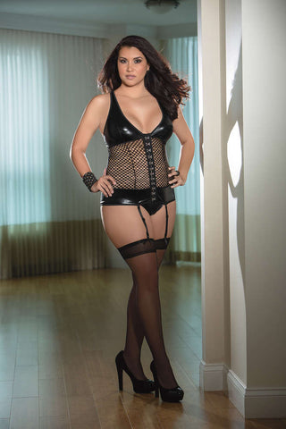 Plus Size Honeycomb Bustier W/Hose - Fashion