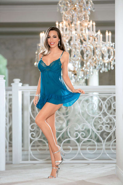 Jeweled Lace Baby Doll - Fashion