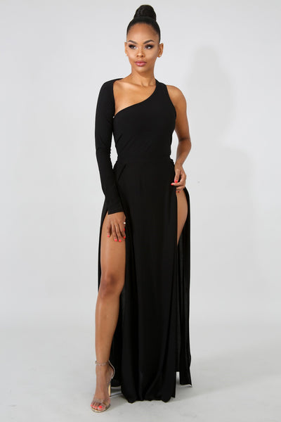 Exotic Maxi Slit Dress BLACK