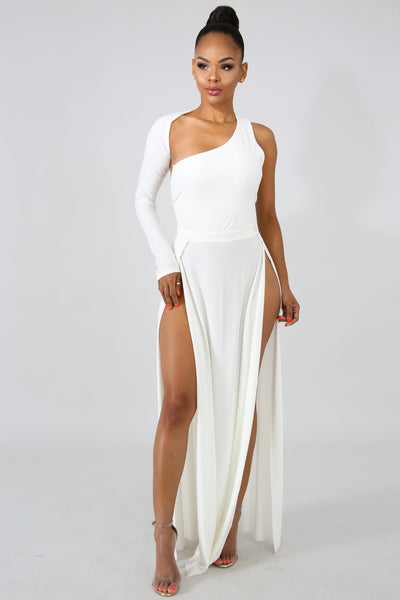 Exotic Maxi Slit Dress WHITE