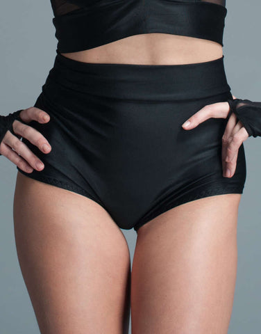 Plus Size Cheeky High Waisted Lycra Shorts - Fashion