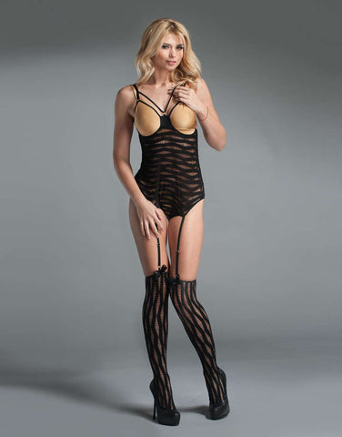 Stretch Loop Lace Peek-A-Boo Bodystocking - Fashion
