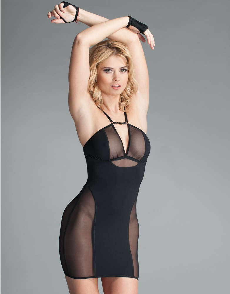Fearless And Fun Female Plus Size Stretch Mesh And Spandex Mini ...