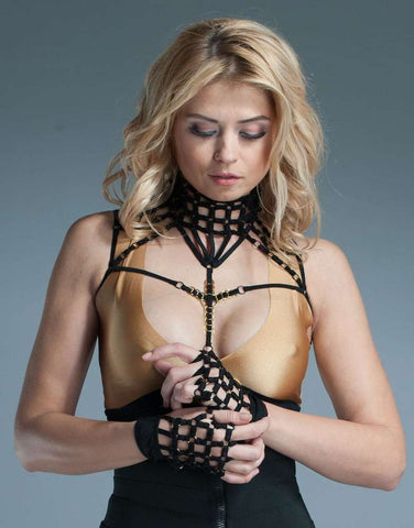 Strappy Lingerie Fingerless Gloves - Fashion