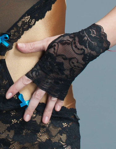 Black Lace Fingerless Gloves - Fashion