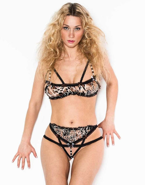 Bra And Crotchless Panties Set Leopard/Black - Fashion
