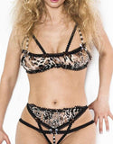 Bra And Crotchless Panties Set Leopard/Black - Females Fashion