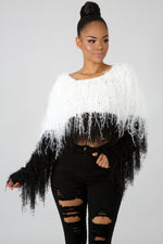 Fringy Diva Top WHITE BLACK
