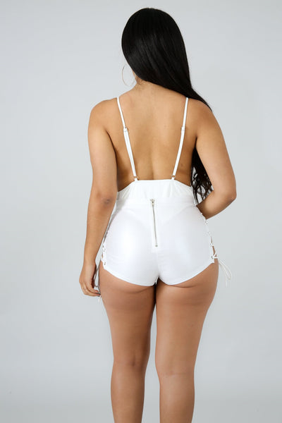 High Waist Cat Shorts WHITE