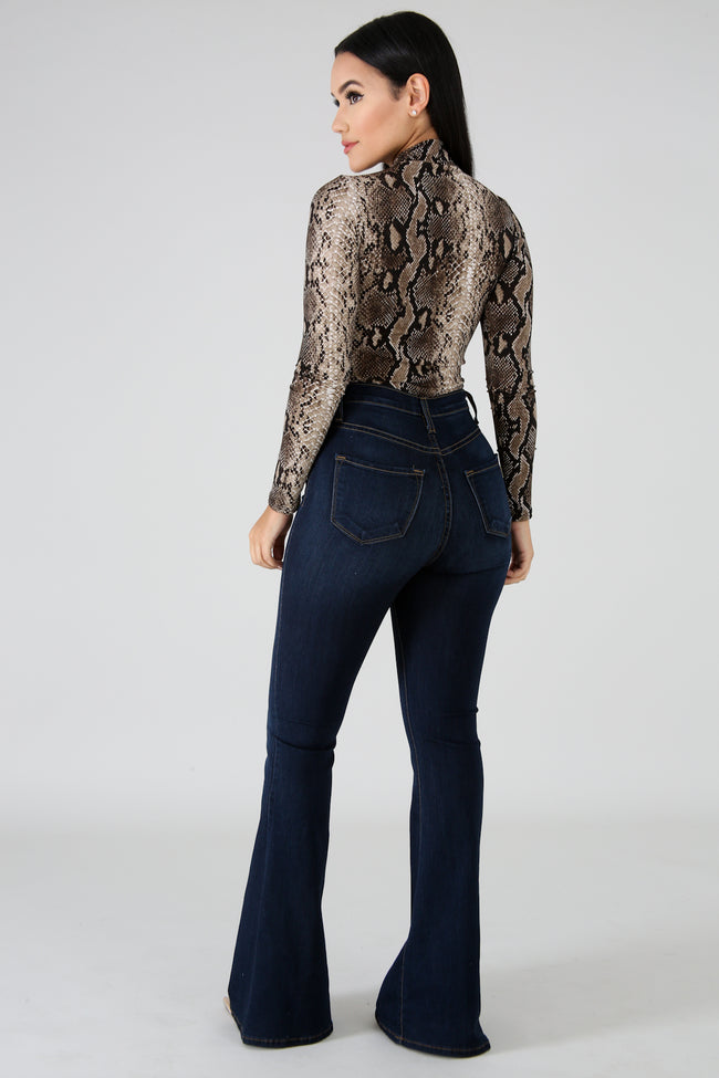 High Waist Denim Jeans DARK DENIM