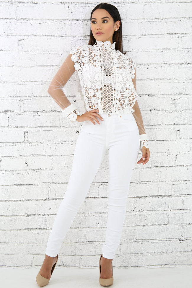 High Waist Denim Jeans WHITE