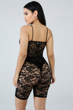 Lace Bodysuit Set BLACK