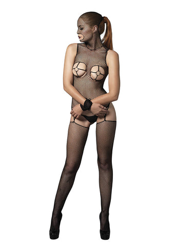 Leg Avenue Female 2 PC. Fishnet Masked Bodystocking With O-Ring Cups KI4016