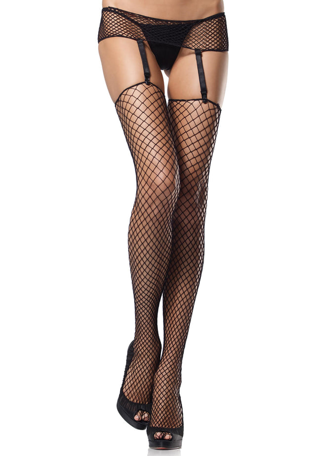 Leg Avenue Female 2 Pc. Industrial Net Garterbelt And Stockings 1680Q