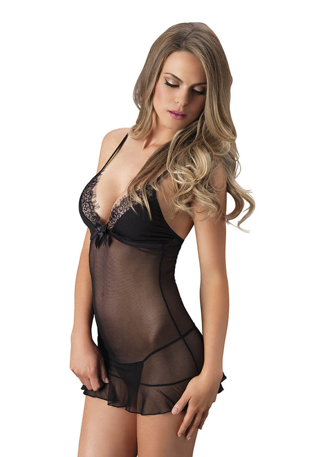 Leg Avenue Female 2 PC. Sheer Chemise W/ Opaque Eyelash Lace Trimmed Cups And G-String 81511