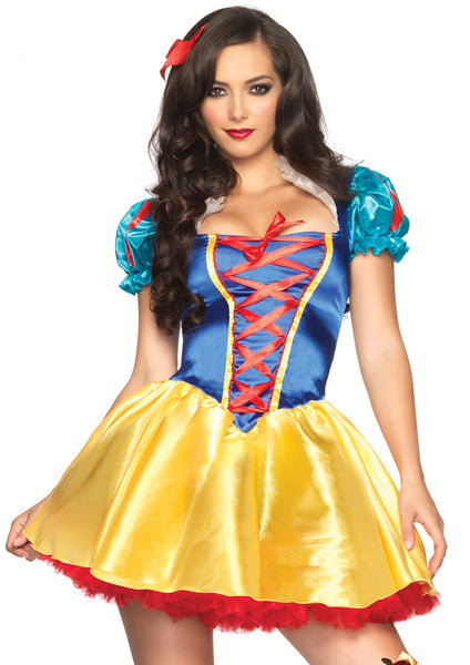 Leg Avenue Female 2PC.Classic Snow White Corset Front Ribbon Detail Costume 85516