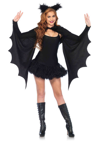 Leg Avenue Female 2PC.Cozy Bat Wing Shrug And Furry Ear Headband 2146