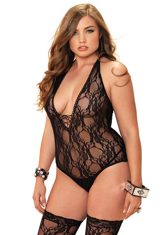 Leg Avenue Female 2PC.Floral Lace Deep-V Lace Up Teddy And Matching Stockings 81321Q