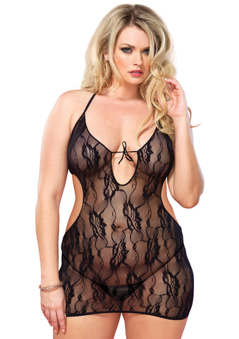 Leg Avenue Female 2PC.Floral Lace Keyhole Cut Out Mini Dress 86384Q