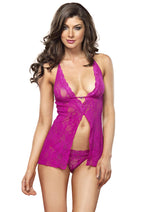 Leg Avenue Female 2PC.Halter Flyaway Babydoll And G-String 81455