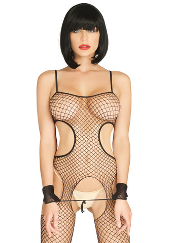 Leg Avenue Female 2PC.Industrial Net Cut Out Suspender Bodystocking And Wrist Restraint Cuffs KI4026
