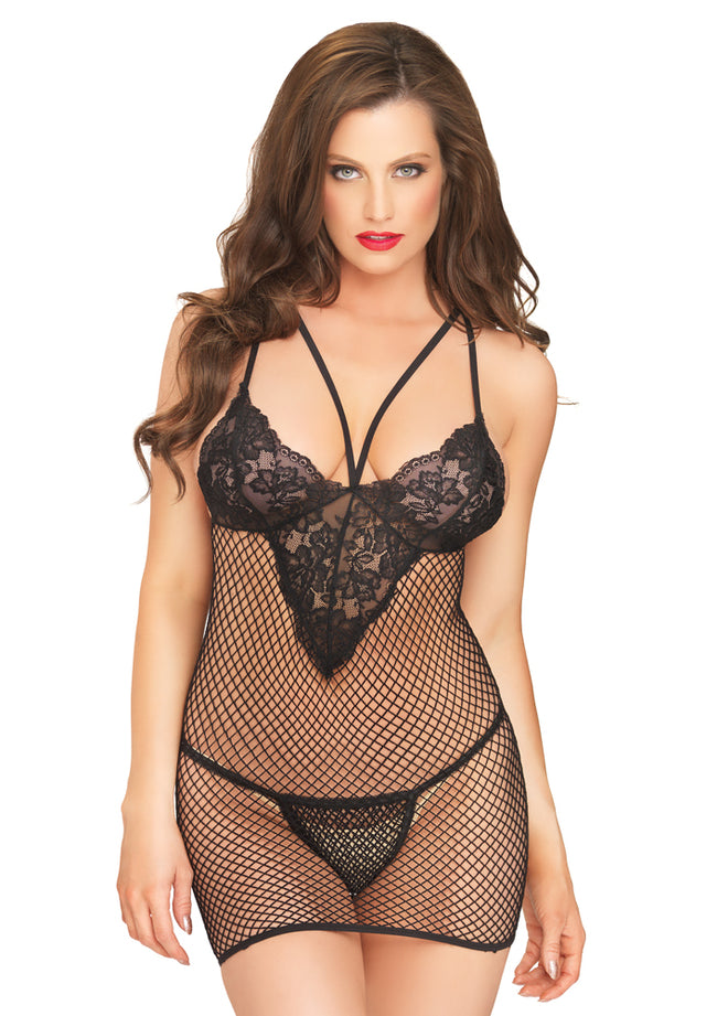 Leg Avenue Female 2PC.Net And Lace Mini Dress W/Harness Strap And G-String 81543