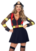 Leg Avenue Female 2PC.Red Hot Fire Captain Skater Dress W/Net Sleeves Belt W/Suspenders Costume 85538