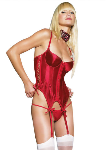 Leg Avenue Female 2Pc. Satin Padded Underwire Hooked Lace Up Side Garter 81082