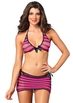 Leg Avenue Female 3PC. Zig Zag Net Bikini Top 28121