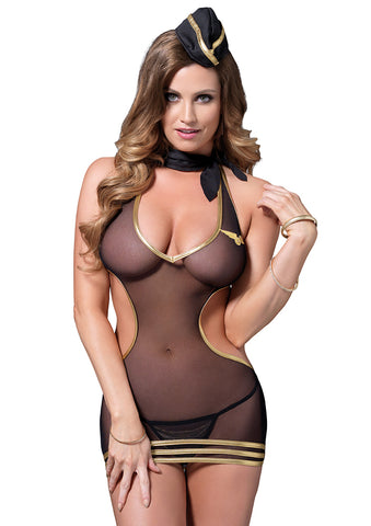 Leg Avenue Female 4 PC.Sexy Stewardess Costume 87033