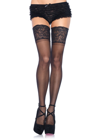 Leg Avenue Female 5 In Lace Lycra Sheer Stay Up Thigh Hi ZE 9750Q