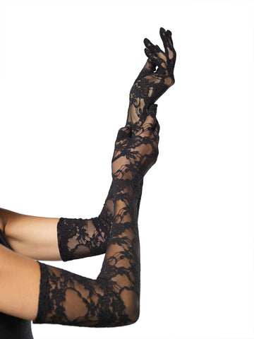 Leg Avenue Female (6Pc.Pack) Stretch Lace Elbow Length Gloves G1116