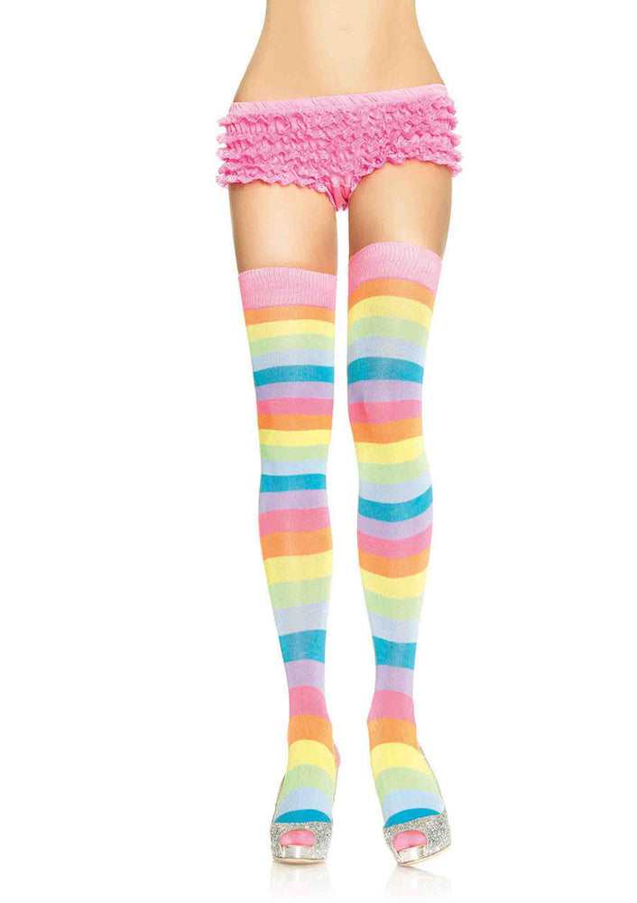 Leg Avenue Female Acrylic Neon Rainbow Thigh Highs 6600