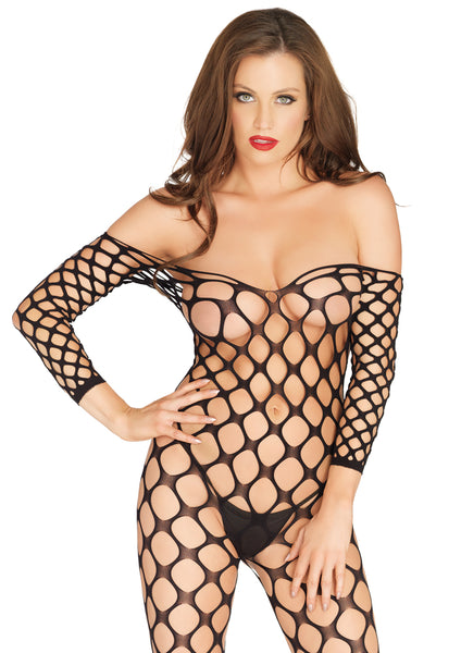 Leg Avenue Female Cargo Net Off The Shoulder Bodystocking 89195