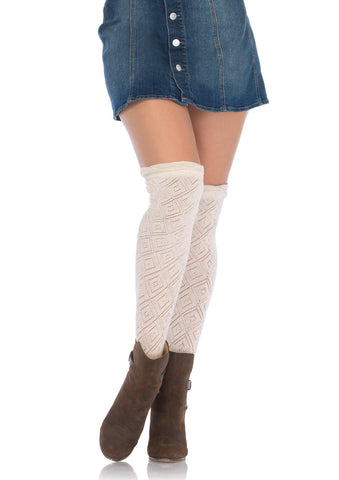 Leg Avenue Female Crocheted Over The Knee Socks W/Scalloped Ruffle Top 6924