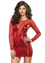 Leg Avenue Female Deep-V Stretch Sequin And Sheer Mini Dress 86597