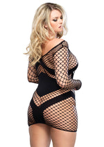 Leg Avenue Female Diamond Net Long Sleeved Mini Dress W/Opaque Panel Accents 86593Q