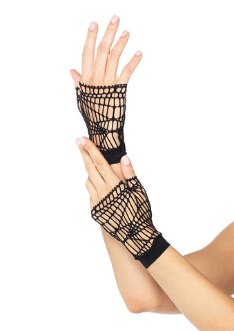 Leg Avenue Female Distressed Net Fingerless Gloves 2108