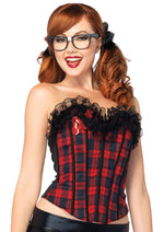 Leg Avenue Female Easy A Plaid School Girl Corset With Lace Ruffle Trim 2637