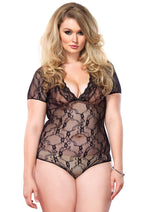 Leg Avenue Female Floral Lace Backless Deep-V Cap Sleeve Teddy 81327Q