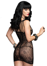 Leg Avenue Female Floral Lace Mini Dress With Shredded Strap Detail 86523