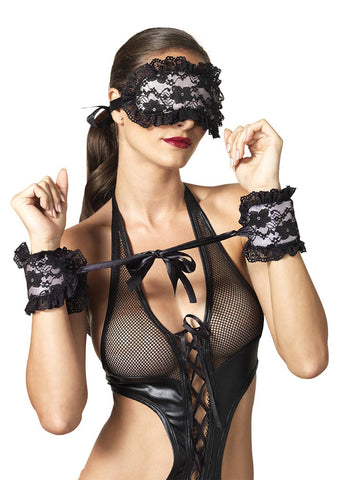 Leg Avenue Female Floral Lace Satin Cuffs And Eye Mask Bondage Restraint Set KI2006