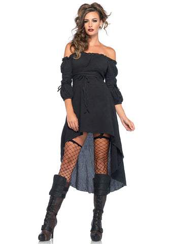 Leg Avenue Female Gauze High Low Peasant Dress With Tie Up Waist And Sleeves 2700