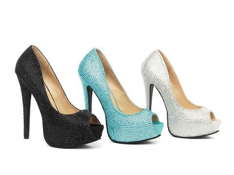 Leg Avenue Female Glamour 5 1/2 In Satin Rhinestone Peep Toe Pump With 2 In Covered Platform 5035