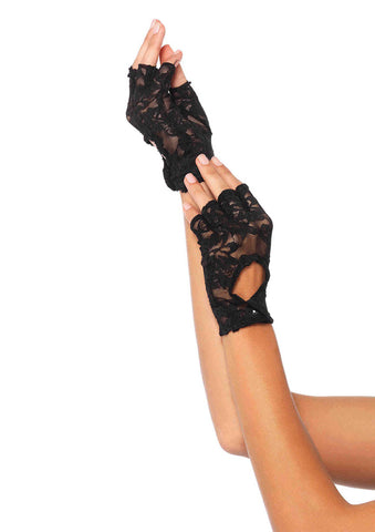 Leg Avenue Female Lace Keyhole Fingerless Gloves 2724