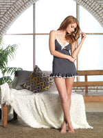Leg Avenue Female Lace Trimmed Brushed Jersey Nightie W/ Ruffle Hem And Adj. Straps ITE SE8882