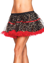 Leg Avenue Female Leopard Print Tulle Petticoat With Contrast Solid Trim A1712