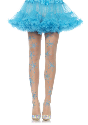 Leg Avenue Female Let It Snow Spandex Sheer Glitter Snowflake Pantyhose 7952